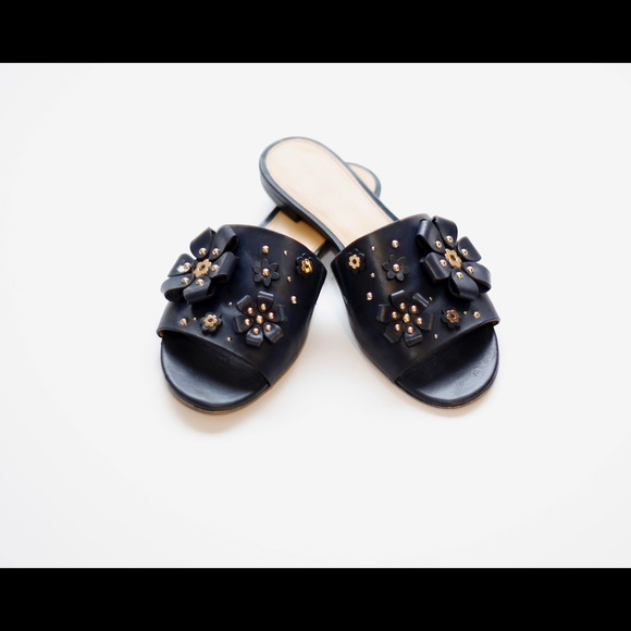 bba4c51cd33 Tara Floral Embellished Leather Slide. M 5b6e33bbfb3803a13073655e. Other  Shoes you may like. Navy Blue Michael Kors Wedges